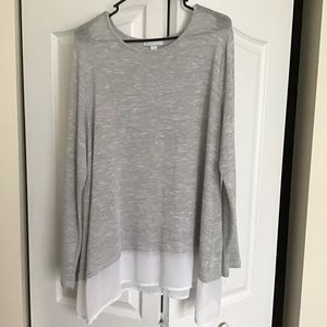 New York and company long sleeve gray blouse XL